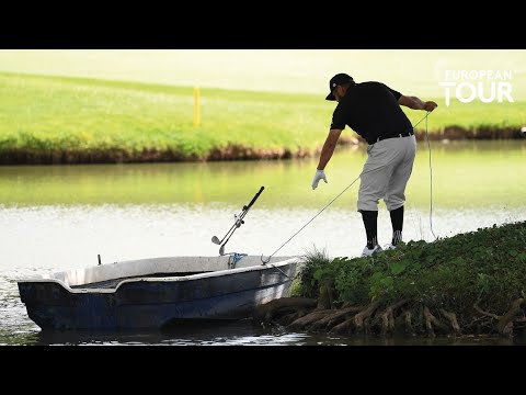 Joel Sjöholm takes boat an island to play his ball during final round