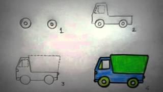 Vẽ ô tô đơn giản cho bé - Vẽ xe tải (Draw a lorry)