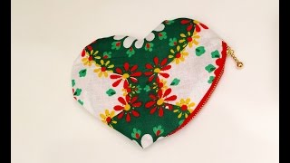 【DIY】簡単裏布付きハート型ポーチの作り方☆ How to Sew Zipper heart Pouch