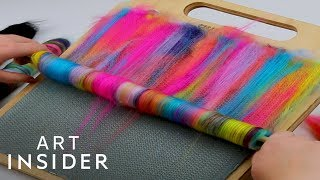 Colorful Fibers Are Blended Together To Create Yarn