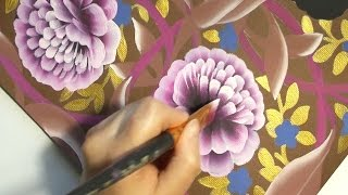 Painting  the peony, Desenhar peônia, One Stroke, irishkalia