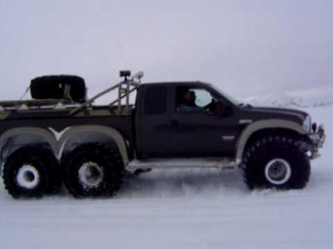 "Ford F350 6 Door >> 49"" Ford F-350 6X6 driving on Langjökull glacier - YouTube"