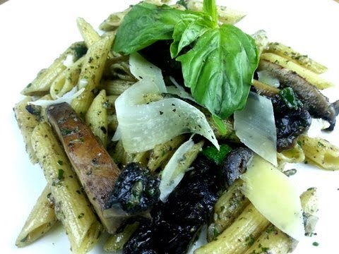 Portabella Penne With Black Bean Pesto Recipe | August Cooking | Vegetarian Recipe | How To Cook