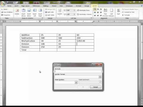 how to create a table in word 2007