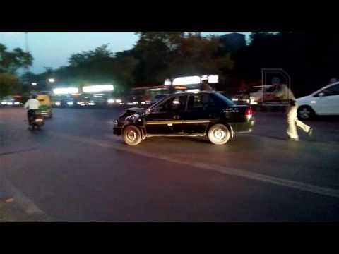Car accident at Safdarjung bus stop, New Delhi