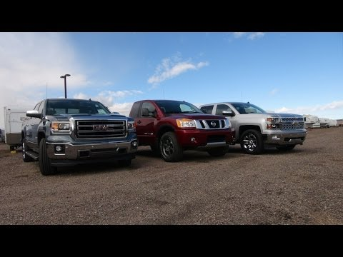 2014 GMC Sierra 5.3L vs Nissan Titan vs Chevy Silverado 6.2L Towing Matchup Test (Part 1)