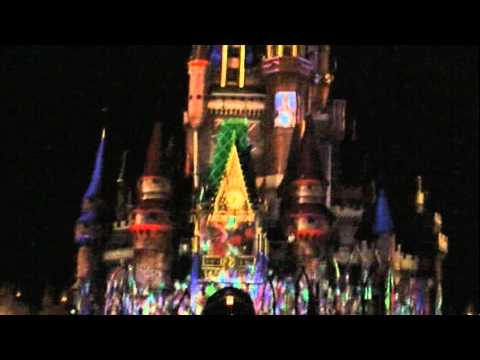 Disney World Castle ON FIRE and Shapeshifting!!! 3D Building Projection Mapping 1/27/2011