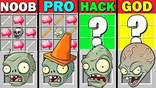 MINECRAFT BATTLE CRAFT PLANTS VS ZOMBIES 6 NOOB VS PRO VS HACKER VS GOD FUNNY MINECRAFT TROLLING!