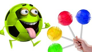 Learn Colors with Soccy Soccer Balls Johny Johny Yes Papa with Candy Lollipops for Kids HooplaKidz