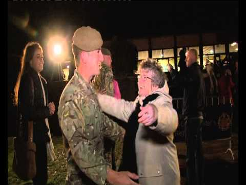 Emotional Homecoming: First British troops to be withdrawn from Afghanistan arrive back at Catterick