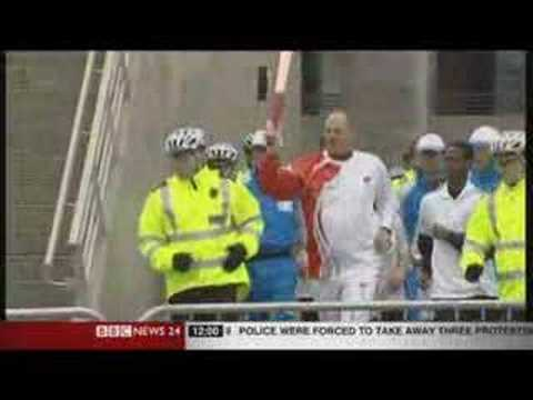 Olympic Torch 3rd Protest London BBC Coverage