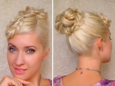 Elegant hairstyle for long hair tutorial Braided bangs and knotted bun Prom. wedding party updo