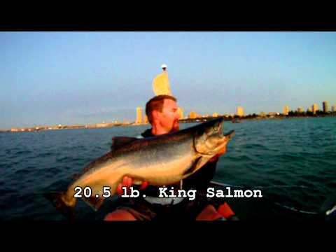 kayak fishing for king salmon in Milwaukee