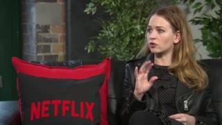 Britt Robertson Interview GIRLBOSS - NETFLIX - about snorting, laughing & fun on Film Set - best day