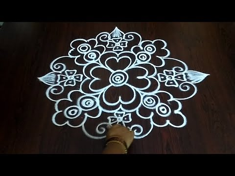 Simple Freehand Muggulu || Design Rangoli ||  Easy Quick Kolam Without Dots || Fashion World