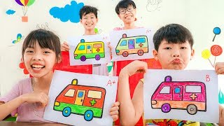 Kids Go to School Learn Colors with Police Car, Ambulance! Color Song Nursery Rhymes