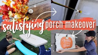 CLEARANCE, UPCYCLED & DOLLAR TREE PORCH MAKEOVER! (satisfying!)