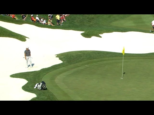 John Huh's bunker shot gets rejected by flagstick at Quicken Loans