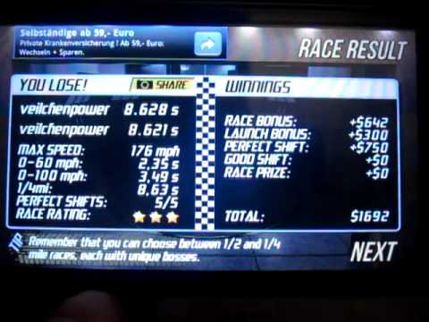 Drag Racing 8.621 sec. Lamborghini Gallardo 1/4 mile level 6