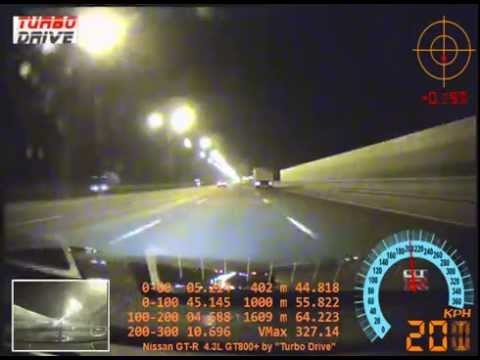 Nissan GT-R 4.3L HKS GT800+ 327km/h (203mph) Tire Blowout / CRASH