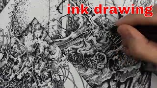 Abstract Ink Drawing Scene & Audio Apartment Tour