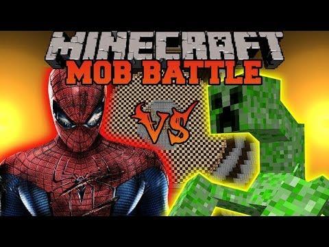 MUTANT CREEPER VS SPIDERMAN - Minecraft Mod Battle - Mob Battles - Superheroes Mutant Creatures Mods
