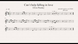 CAN´T HELP FALLING IN LOVE:  Bb inst (clarinete, trompeta, saxo soprano/tenor) (partitura/playback)