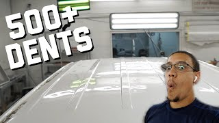 Repairing 500+ Dents on a Roof   A Day with a PDR Tech   Vlog #9