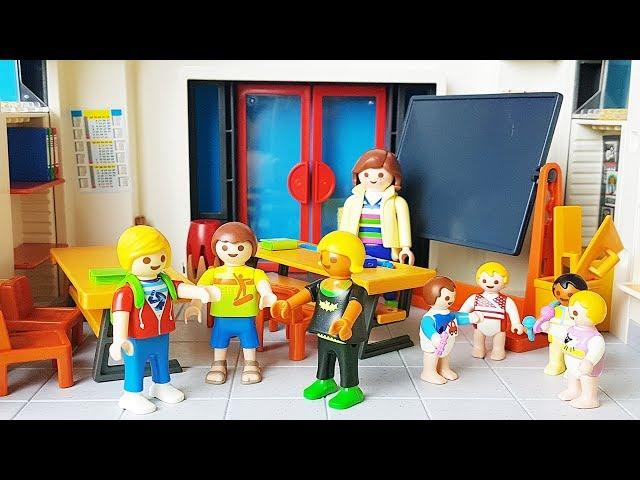 Rodzinka Playmobil po polsku Tomek i Ania idą do nowa szkoła i przedszkole zabawki bajki dla dzieci