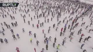 Drone flies over 10,000+ people racing at Russian Ski track 2017