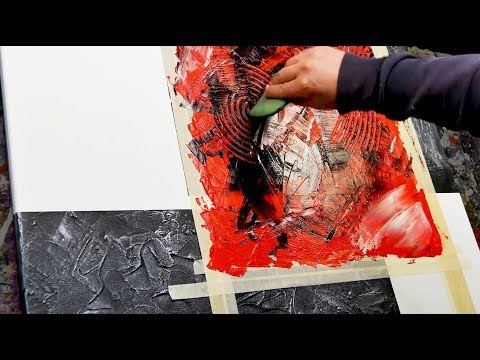 Abstract Painting Demo Acrylics using brush, knife and modeling paste - Messia - John Beckley
