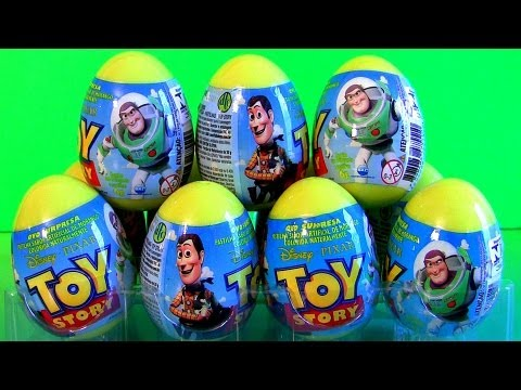 12 Toy Story Surprise Easter Eggs Unboxing Toys Review 2013 Disney Sheriff Woody & Buzz Lightyear