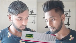 Men's permanent hair straight at home !! hindi !! streax pro hair straightener cream !! step by step