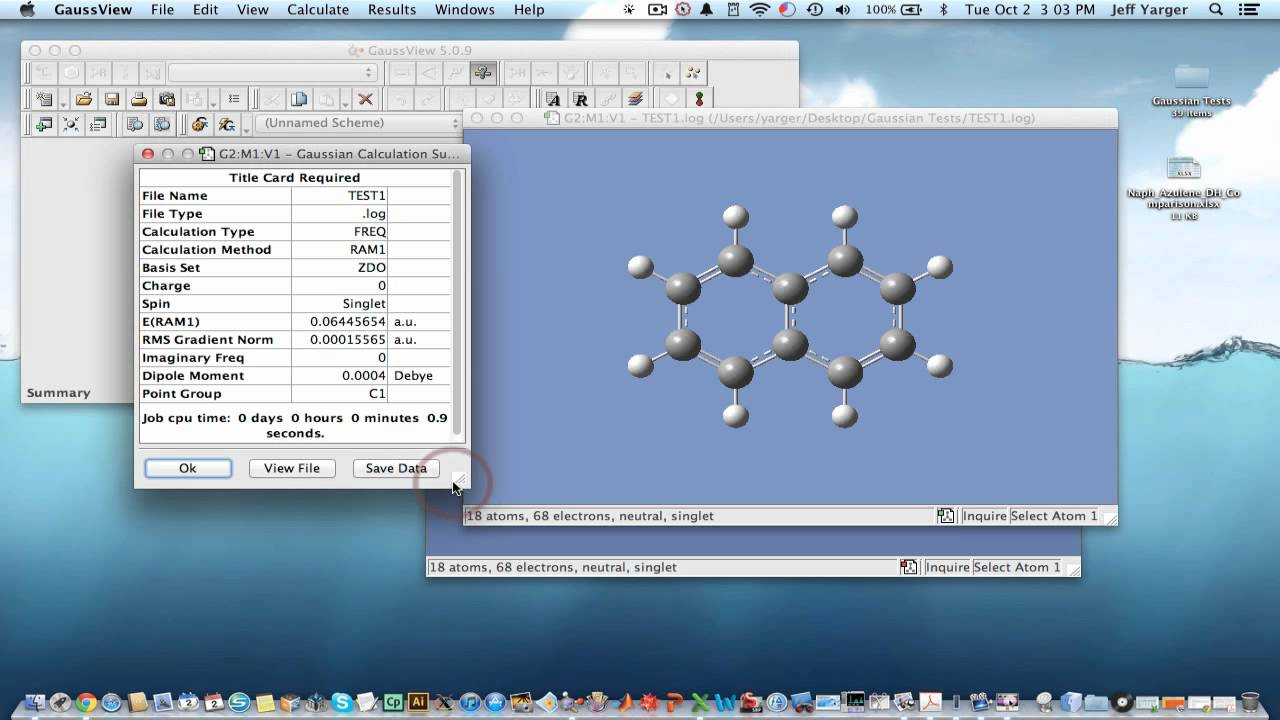 example of thermochemistry calculation in gaussian 09