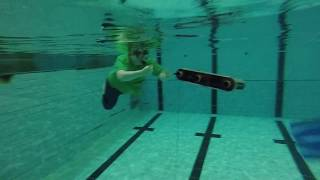 Instructing an underwater robot (Aqua) to follow the swimmer in front