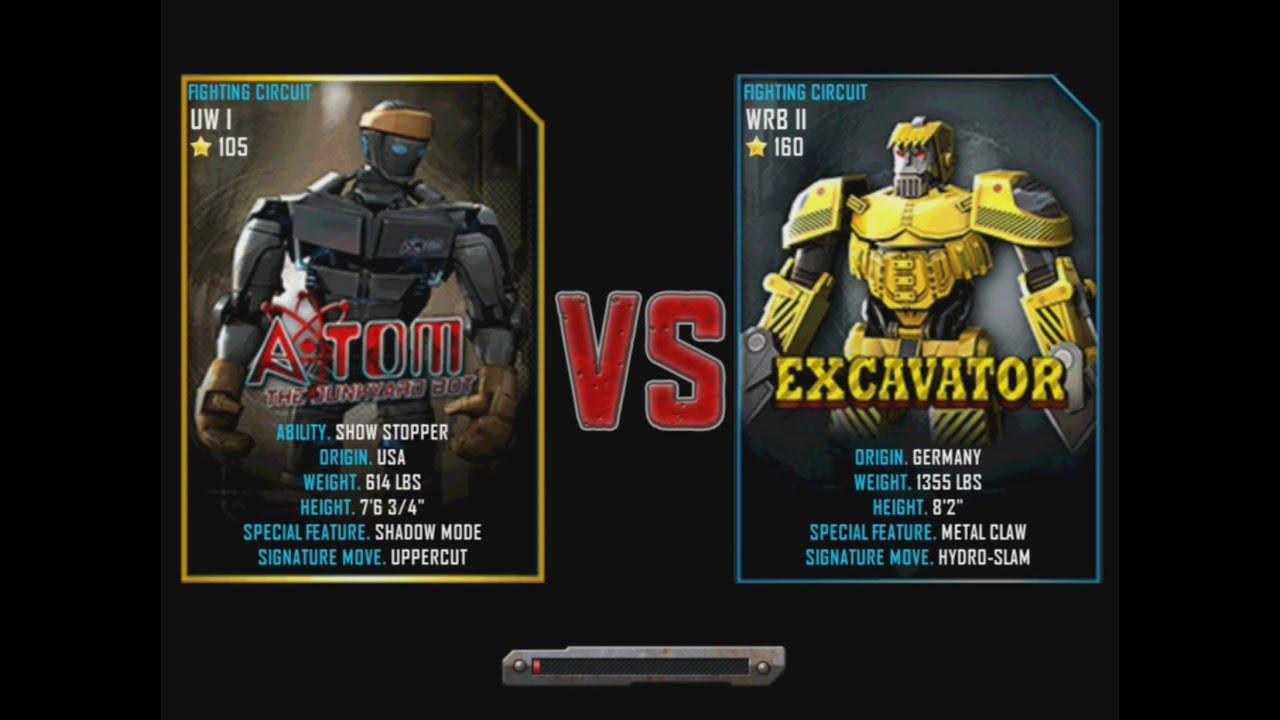 Excavator Real Steel Wrb Real Steel Wrb Atom vs