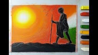 Drawing Mahatma Gandhi ji -Gandhi jayanti special drawing using Pastels for beginners and kids