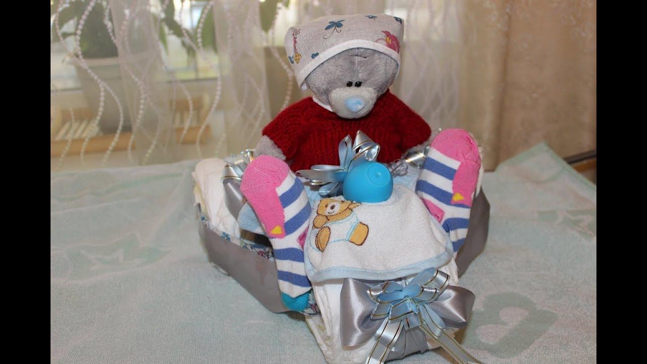 Подарок из памперсов на рождение ребенка своими руками