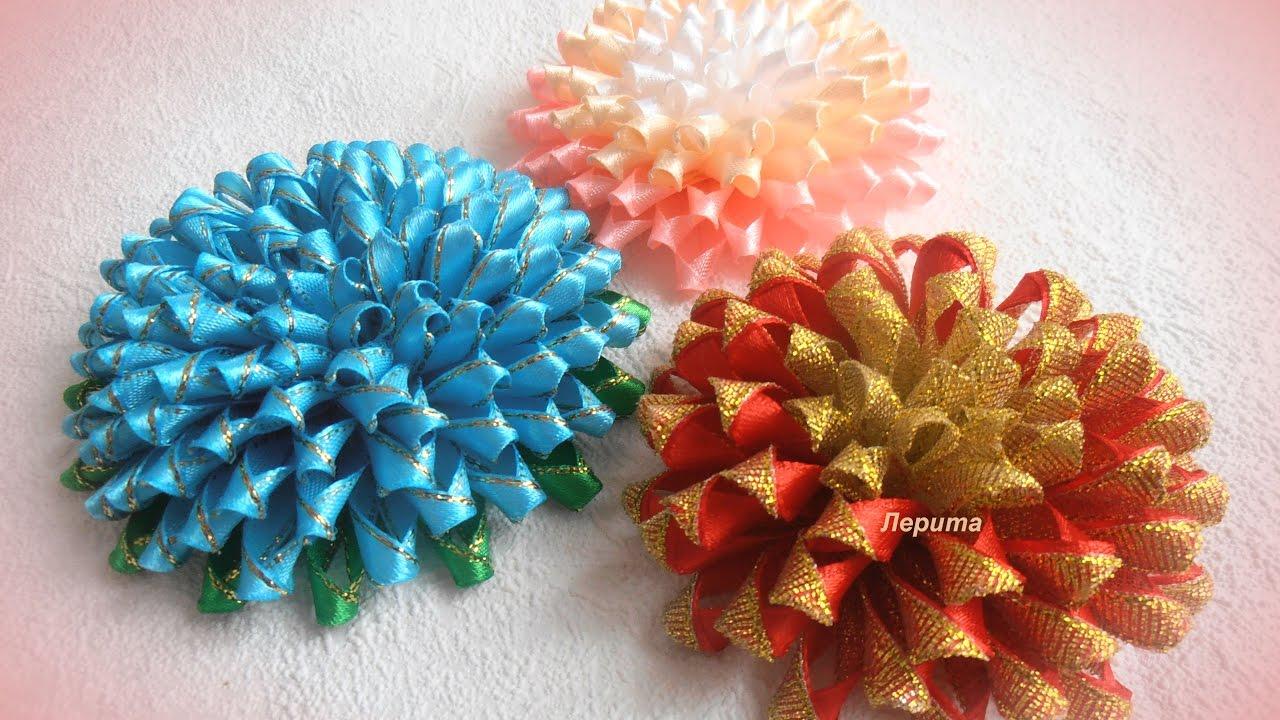 Цветы канзаши из узкой ленты 0,6 см, МК - YouTube