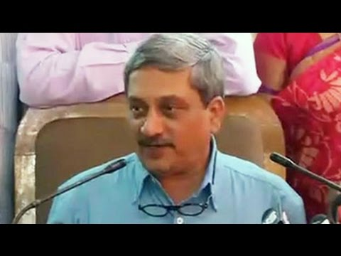 Defence Minister Manohar Parrikar addresses media