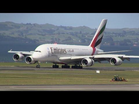 World's Longest Flight ► Emirates A380 ► Inaugural Landing ✈ Auckland Airport