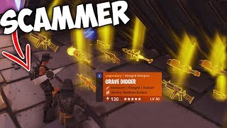 Dumbest Scammer Gets Scammed For 10 + GUNS! - Fortnite Save The World