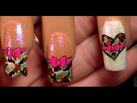 camo hearts & pink bows / camoflauge nail art