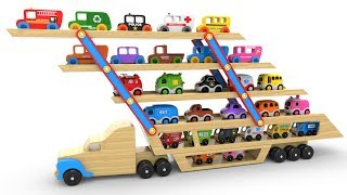 Colors for Children to Learn with Car Transporter Toy Street Vehicles - Educational Videos