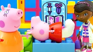 Peppa Pig breaks leg & goes to Doctor Mcstuffins Clinic Rescue! NEW Toy Episode by Squish