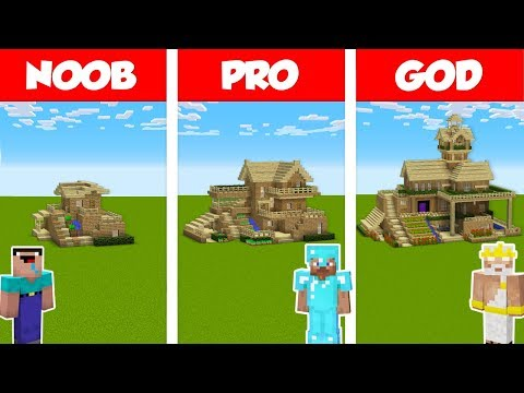 Minecraft NOOB vs PRO vs GOD: SURVIVAL HOUSE BUILD CHALLENGE in Minecraft / Animation