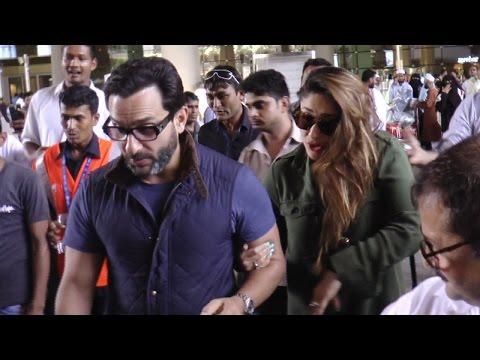 Kareena Kapoor & Saif Ali Khan MOBBED at Mumbai Airport | FULL VIDEO