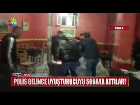 Polis gelince uyuşturucuyu sobaya attılar!