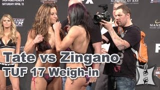 TUF 17 Finale: Miesha Tate vs Cat Zingano Weigh-in + Face Off
