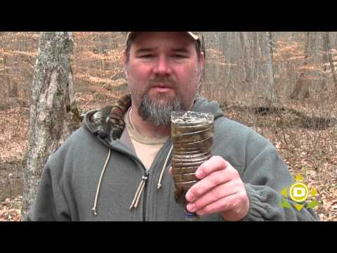 Survival Water Filter with a used water bottle